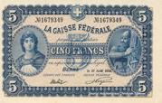 5 francs - Caisse fédérale (texte en français) – avers