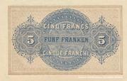 5 francs - Caisse fédérale (texte en français) – revers