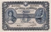 5 francs - Caisse fédérale (texte en italien) – avers