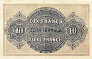 10 francs - Caisse fédérale (texte en allemand) – revers
