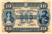 10 francs - Caisse fédérale (en italien) – avers