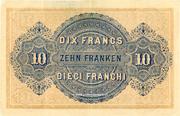 10 francs - Caisse fédérale (en italien) – revers