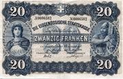 20 francs - Caisse fédérale (texte en allemand) – avers