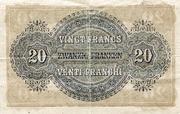 20 francs - Caisse fédérale (texte en allemand) – revers