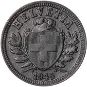 2 centimes Écusson (zinc) – avers
