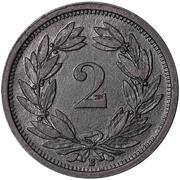2 centimes Écusson (zinc) – revers