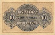 10 francs - Caisse fédérale (texte en français) – revers