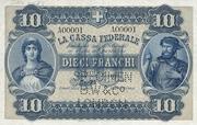 10 francs - Caisse fédérale (texte en italien) – avers