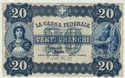 20 francs - Caisse fédérale (texte en italien) – avers