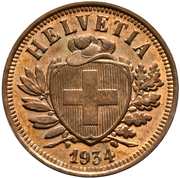 2 centimes Écusson (bronze; type lourd) – avers