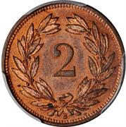 2 centimes Écusson (bronze; type léger) – revers