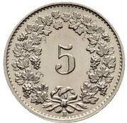 5 centimes Tête de Libertas (nickel) – revers