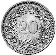 20 centimes Helvetia (essai; billon) – revers