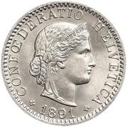 20 centimes Tête de Libertas (nickel) – avers