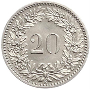 20 centimes Tête de Libertas (nickel) – revers
