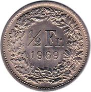 ½ franc Helvetia debout (cupronickel) – revers