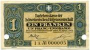 1 franc - Caisse de Prêts (billet de réserve) – avers