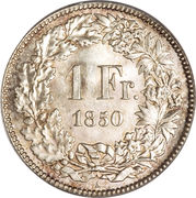 1 franc Helvetia assise (argent 900‰) – revers