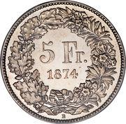 5 francs Helvetia assise -  revers