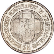 5 francs Schaffhouse -  avers