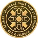 500 Guilders (35ème anniversaire de la Banque Centrale du Suriname) – revers