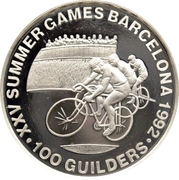 100 Guilders (Olympic Games 1992; Cycling - without 999) – revers