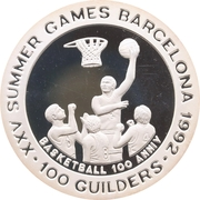 100 Guilders (Olympic Games 1992; Basketball - With 999) – revers