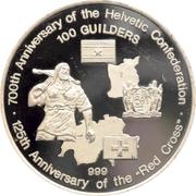 100 Guilders (700ème anniversaire de la Confédération helvétique / 125ème anniversaire de la Croix-Rouge) – revers