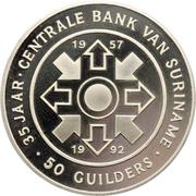 50 Guilders (35ème anniversaire de la Banque Centrale du Suriname) – revers