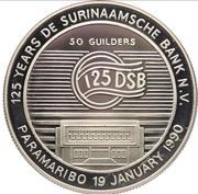 50 Guilders (125ème anniversaire de la Banque du Suriname) – revers