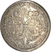 1 Thaler - Eberhard Ludwig and bishop Marquard Rudolf von Roth – avers