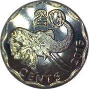 20 cents - Mswati III – revers