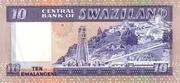 10 Emalangeni  commemorative banknote – revers