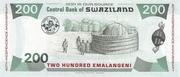 200 Emalangeni commemorative banknote – revers