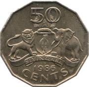 50 cents - Mswati III – revers