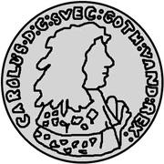 ⅓ dalderi Carl XI – avers