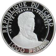 1000 Francs colorized (okapia johnstoni) – revers