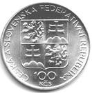 100 Korún (1000 ans du Monastère de Břevnov) – avers