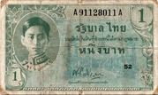1 Baht - Rama VIII (US Military Issue) – avers
