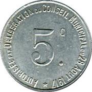 5 Centimes - Union des Commerçants de Thiviers [24] – revers