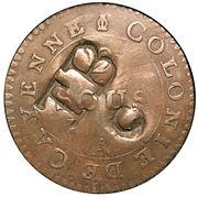 "1½ Pence ""Black Dog"" - Tobago British Administration (Countermarked coinage) – avers"
