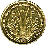 5 francs Togo – revers