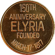 Token - 150th Anniversary (Elyria Ohio) – revers