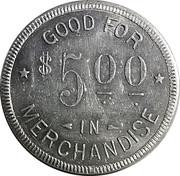 5 Dollars - C. Blocker (St. Benedict, Kansas) – revers