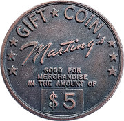 5 Dollar - Marting's Gift Coin – avers