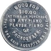 10 dollars - W. F. Schwentker Piano Co. – revers