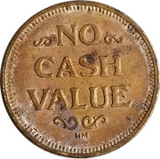 Token - No Cash Value (Rays or Lines; 25 mm) – avers