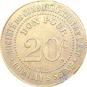 20 centimes - Société de consommation de l'Est - Romilly-sur-Seine (10) – avers