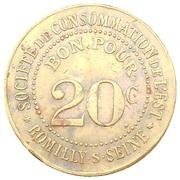 20 centimes - Société de consommation de l'Est - Romilly-sur-Seine (10) – revers