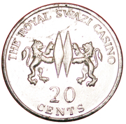 20 Cents - The Royal Swazi Casino – revers